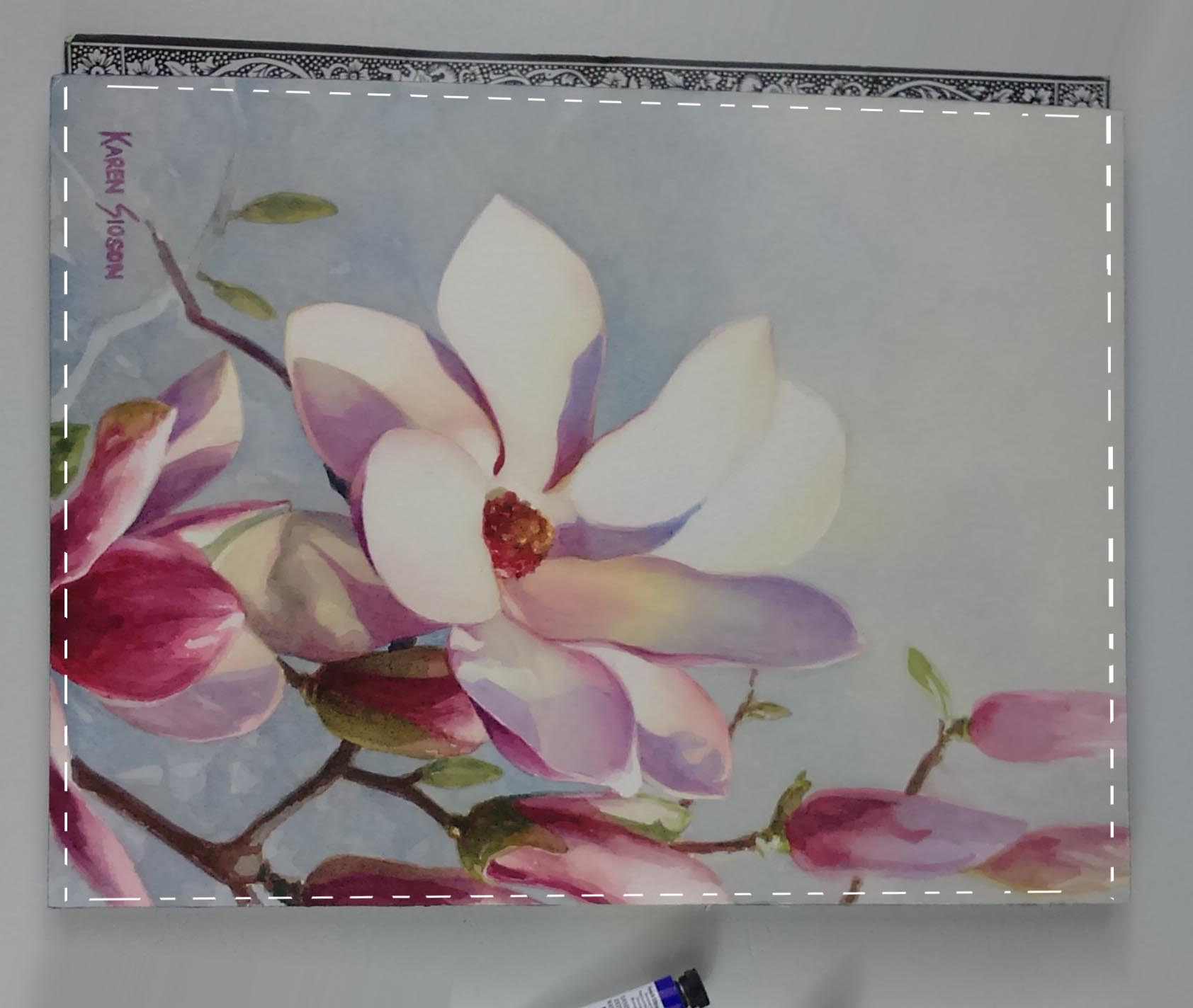 Magnolia painting using limited color palette (3 colors.)  Magnolia photo reference credited to and with permission of Joanne Masias Gustillo.