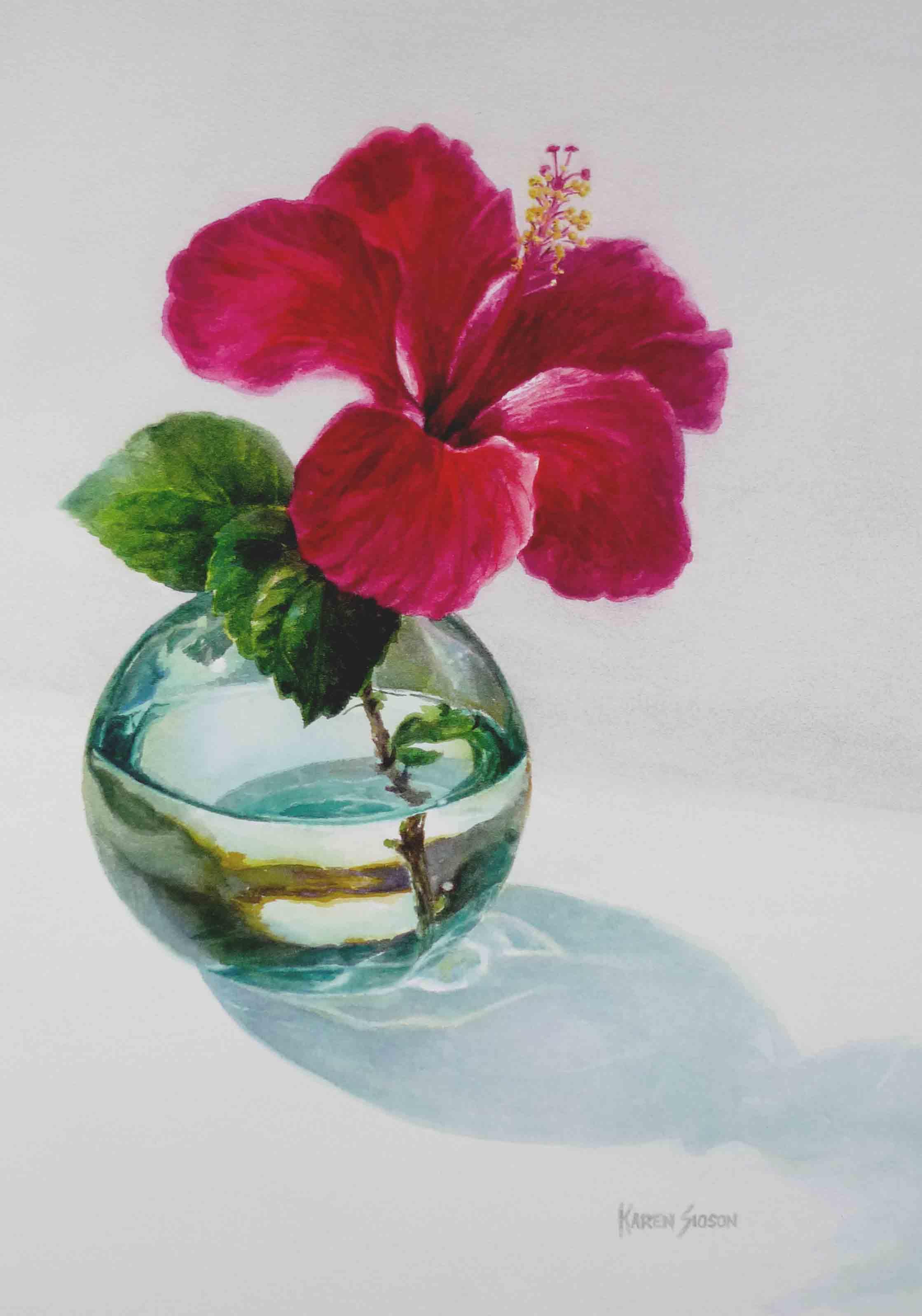 Gumamela in Glass, 18 x 12.5 inches