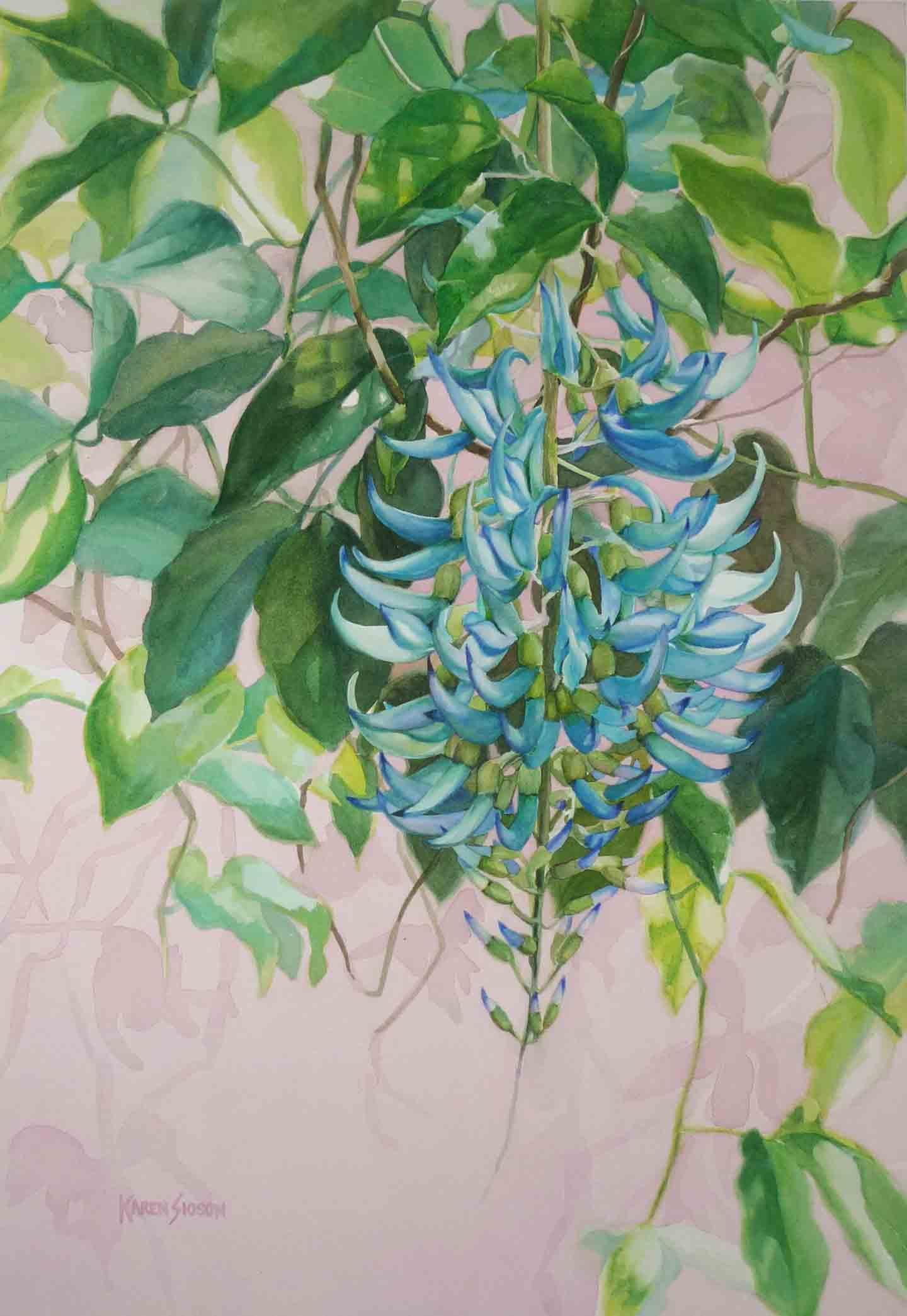 Jade Vine, 21.875 x 14.875 inches